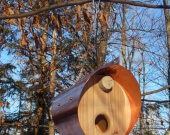 Copper and Cedar Bird Feeder - Barrel