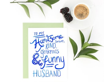To My Husband Card - Valentine Card, Anniversary Card, Just Because Card