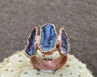 Black biwa pearl ring | Black river pearl ring | Freeform river pearl wide ring | Freeform biwa pearl electroformed ring | Copper ring