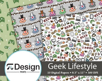 "8.5""x11"" Nerd Lifestyle 10 Digital Paper Pack 