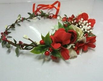 Red White flower crown Floral crown Wedding flower crown Bridal headband   Flower hair wreath