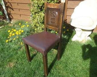 """Antique hand made chip carved oak dining chair, leather upholstered seat, metal studs, excellent condition, 4 available, 36.5"""" x 16.5"""" x 18"""""""