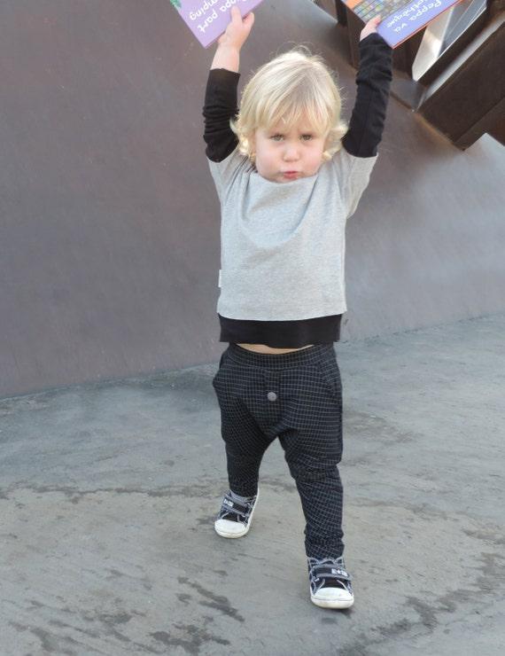 Boy Harem Pants - Girl Harem Pants - Toddler Harem Pants - Kids Harem Pants - Black Harem - Black Checked Harem Pants - By PetitWild