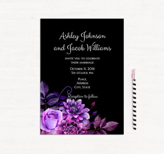 Dark Purple Wedding Invitations: Black And Purple Wedding Invitation Template Gothic Wedding