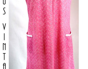 "Plus Size UK 22 Vintage 1960s Pink Shift Day Dress Secretary Mad Men Mod  SilkyEU 50 US 18 Bust 48"" 122cm"