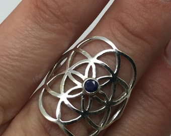 seed of life silver saphire ring,seed of life jewelry,stone ring,kabbalah ring,silver seed of life,kabbalah jewelry,silver jewelry,symbole