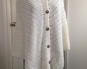 Crochet Off-white Poncho with Buttons, Cape style wrap ideal for Spring and Cool Summer evenings, lovely Gift for Her, Women, Teens,Children