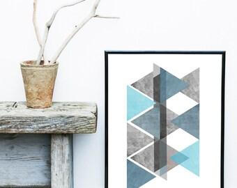 Blue Geometric Wall Art, Printable Art, blue Triangle Print, Geometric Print, Scandinavian Art, Geometric Art, Wall Decor, Home Decor