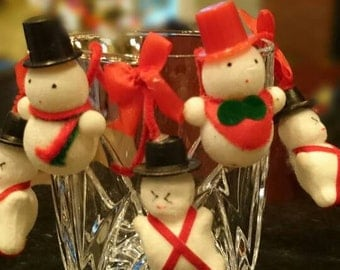 Set of 5 Flocked Snowmen/Pipe Cleaners and Tiny Bows