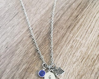 American flag charm necklace / Personalized initial tag / American flag charm / birth stone necklace / custom initial gift / USA necklace