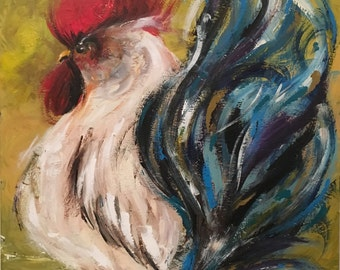 Original Rooster Painting on a Wood Panel Distressed Farmhouse Art