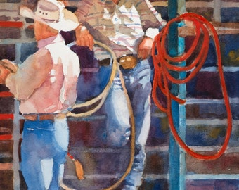 Cowboy Painting, Cowboy Art, Cowboy Watercolor, Western Art
