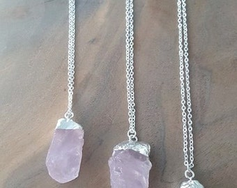 Rose Quartz Stone Necklace - Rose Quartz Necklace - Raw Rose Quartz - Rose Quartz Pendant