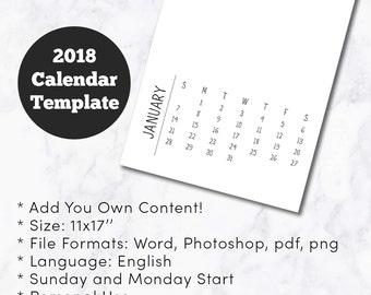 11x17 calendar | Etsy