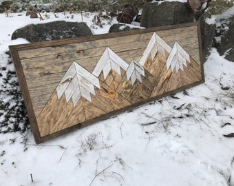 Five Rustic Wood Mountains Wall Art - Small