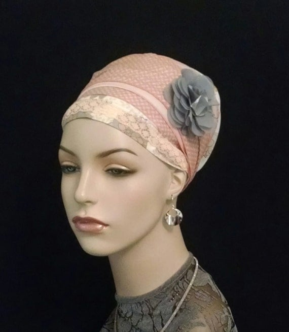 Lace and cotton flower sinar tichel, head wraps, women's religious head coverings,