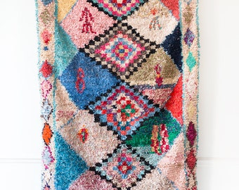 "Vintage Moroccan Boucherouite Rug, ""The Elsie,"" Pink Rug, Nursery Rug, Kids Rug, Bohemian Decor, Boho Rug, Rag Rug, Soft Rug, Kids Decor"