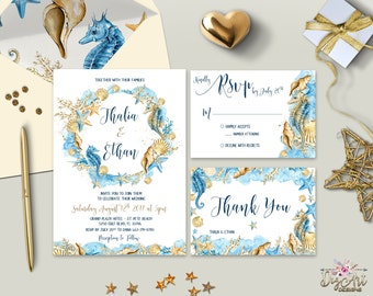Boho Beach Wedding Invitation Printable Destination Wedding Invitation Suite Seaside Wedding Invite Watercolor Wedding Set Digital (Printed)