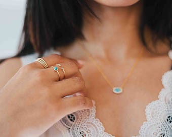 Gold turquoise ring - turquoise bohemian ring - turquoise cabochon ring - tiny turquoise ring - dainty jewelry - silver turquoise ring