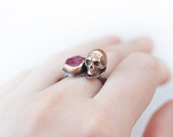 SUPER SALE! Large Unisex Memento Mori Ruby, skull ring, victorian revival bronze vanitas ring, bronze with copper, ruby, burgundy, big