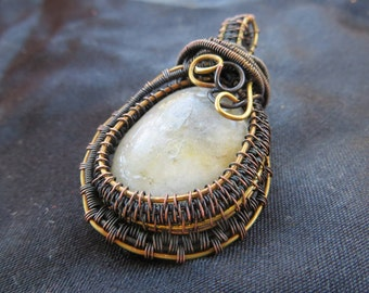 Copper Wire Wrapped Moonstone Pendent with Brass Accents