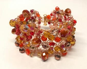Knitted Wire Bead Bracelet - Autumn Tones