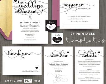 Wedding invite templates, invites printable, pdf celebration invitation, wedding cards set suite, DIY download modern calligraphy DIGITAL