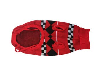 Vintage Dog Sweater Red Checkerboard Pattern Sweater Red White and Black Turtleneck Knit Sweater Stretchy Small Dog Medium Dog Mom Gift