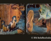 Special Listing for Carmela ONLY. Set of Two Egyptian  Tiles, Coasters, 8x4. 50% goes to CHARITY