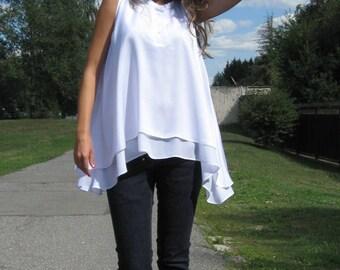 White sleeveless top, Oversize top, White shirt, Layered top, Loose blouse, Sleeveless tunic, Women white top, Asymmetric top