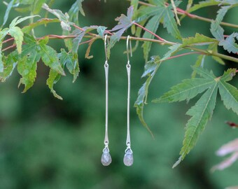 Silver Drop Earrings with Labradorite