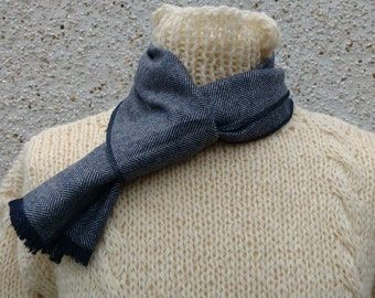 Irish tweed wool scarf - 100% wool - gray / black herringbone  - ready for shipping - HANDMADE IN IRELAND