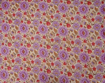 "Indian Dress Fabric, Beige Color, Floral Print, Designer Fabric, Sewing Craft, Home Accessories, 44"" Inch Cotton Fabric By The Yard ZBC7021C"