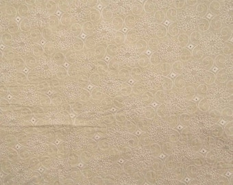 "Indian Cotton Fabric, Floral Embroidery, Home Decor Fabric, Dress Material, Beige Fabric, 20"" Inch Apparel Fabric By The Yard ZBC7281A"