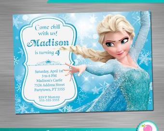 Frozen Party Invitation Print Yourself, Frozen Birthday Invitation DIY, Frozen Party Printable Invitation, Frozen Elsa Invitation
