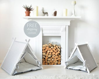Dog house -  gray with white dots (Medium size) Oh yes, FREE worldwide shipping!