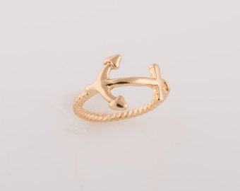 Anchor Ring / Anchor Jewelry / Simple Ring / Bands Ring / Gold, Sterling silver Rings / Gift for her / Delicate Ring
