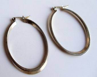Vintage Extra Large Hoop Earrings, Silver Tone Oval Hoops, Hoop Pierced Earrings, Silver Tone Jewelry, Gift For Her, 1970s'