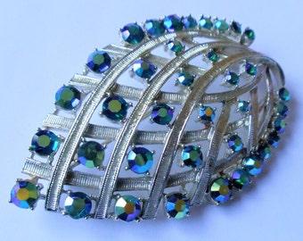 Vintage Coro Blue AB Rhinestones Leaf Brooch, Large Aurora Borealis Rhinestones Silver Tone Floral Brooch Pin, Coro Signed Jewelry, 1960s'