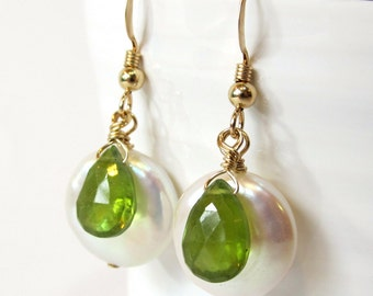Green Vesuvianite Earrings, Genuine Freshwater Coin Pearl Earring with Gold Filled Wire and Hooks, Handmade Semi-Precious Stone Earrings