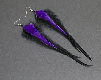 Purple feather earrings: purple earrings, purple jewelry, long earrings, light earrings, feather jewelry, gift for her, black feather