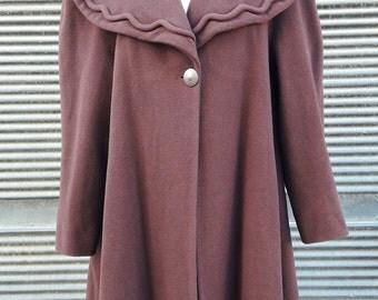 Vintage Brown Mariella Burani Wool Swing Coat