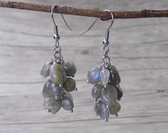 Labradorite Earrings Grey Labradorite Bead Earrings Gemstone Earrings Grey Moonstone Earrings Drop Earrings Dangle Earrings Boho ED-027