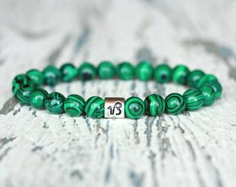 Capricorn bracelet zodiac capricorn jewelry malachite green beads bracelet sign zodiac gift balance birthstone zodiac intention womens