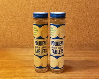 2 Vintage Polident Tablets Jars with Contents