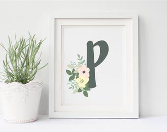 Flower Monogram Letter, Floral Monogram Print, Floral Monogram, Monogram Art Print, Printable Monogram, Monogram Print, Nursery Art Print