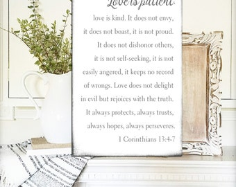 Love is Patient Sign Love is Kind Sign 1 corinthians 13 Sign Fixer Upper Signs Gift For Her Rustic Mantle Decor Home Decor Farmhouse Decor