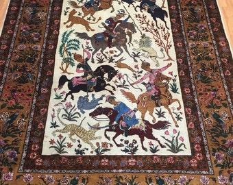 7' x 11' Persian Tabriz Hunting Design Oriental Rug - Fine - 300 KPSI - Hand Made