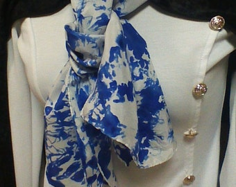 blue tie dyed scarf/royal blue scarf/silk scarf blue/long scarves/wraps and scarves/scarves/warm scarves/tie dyed scarves/women accessories