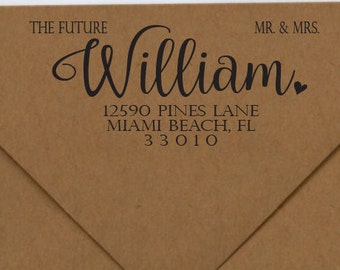 Future Mr. & Mrs. Address Stamp, Wedding Stamp, Rubber or Self Inking Stamp, Personalized Rubber or Self Inking Stamp